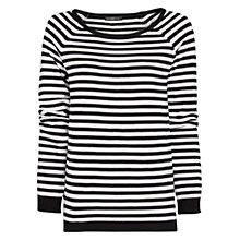 Buy Mango Striped Cotton Blend Sweater, Black Online at johnlewis.com