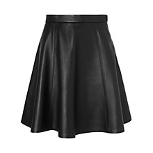 Buy Jaeger London Leather Skater Skirt, Black Online at johnlewis.com