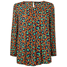 Buy Jaeger London Silk Animal Print Blouse, Dark Gold Online at johnlewis.com