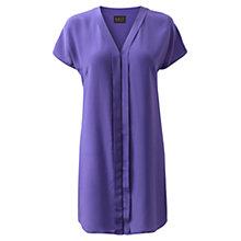 Buy East Pleat Front V-Neck Silk Tunic, Violet Online at johnlewis.com