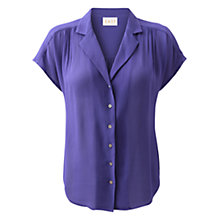 Buy East Yoke Detail Short Sleeve Viscose Blouse, Violet Online at johnlewis.com