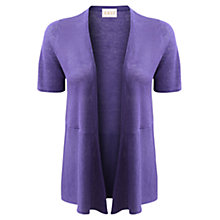 Buy East Short Sleeve Linen Cardigan, Violet Online at johnlewis.com
