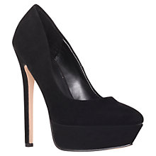 Buy Carvela Glow Suede Platform Stiletto Heel Court Shoes, Black Online at johnlewis.com
