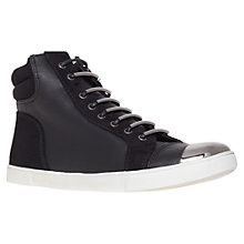 Buy Carvela Loop Leather Mix Metallic Toecap Trainers, Black Online at johnlewis.com