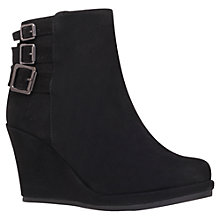 Buy Carvela Shady Suede Triple Buckle Wedge Heel Ankle Boots, Black Online at johnlewis.com