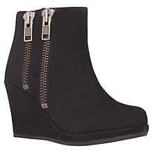 Buy Carvela Spain Double Zip Wedge Heel Ankle Boots, Black Suede Online at johnlewis.com