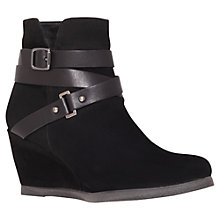 Buy Carvela Slat Suede Wedge Heel Ankle Boots, Black Online at johnlewis.com