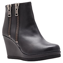 Buy Carvela Spain Double Zip Wedge Heel Ankle Boots, Black Leather Online at johnlewis.com