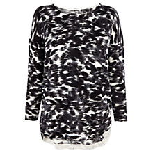 Buy Warehouse Scratchy Print Jumper, Black Online at johnlewis.com