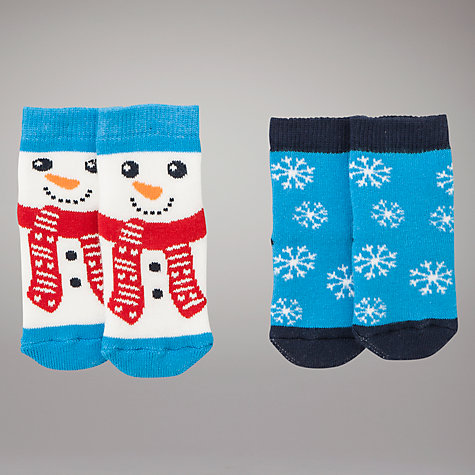 Buy John Lewis Baby Snowman Socks, Pack of 2, Blue Online at johnlewis.com