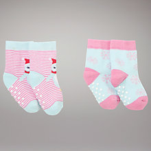 Buy John Lewis Baby Penguin Socks, Pack of 2, Pink Online at johnlewis.com