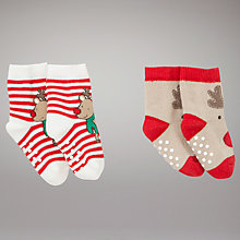 Buy John Lewis Baby Reindeer Socks, Pack of 2, Red Online at johnlewis.com