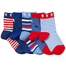 Buy John Lewis Boy Nautical Stars Socks, Pack of 5, Blue Online at johnlewis.com