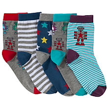 Buy John Lewis Boy Robot Socks, Pack of 5, Multi Online at johnlewis.com
