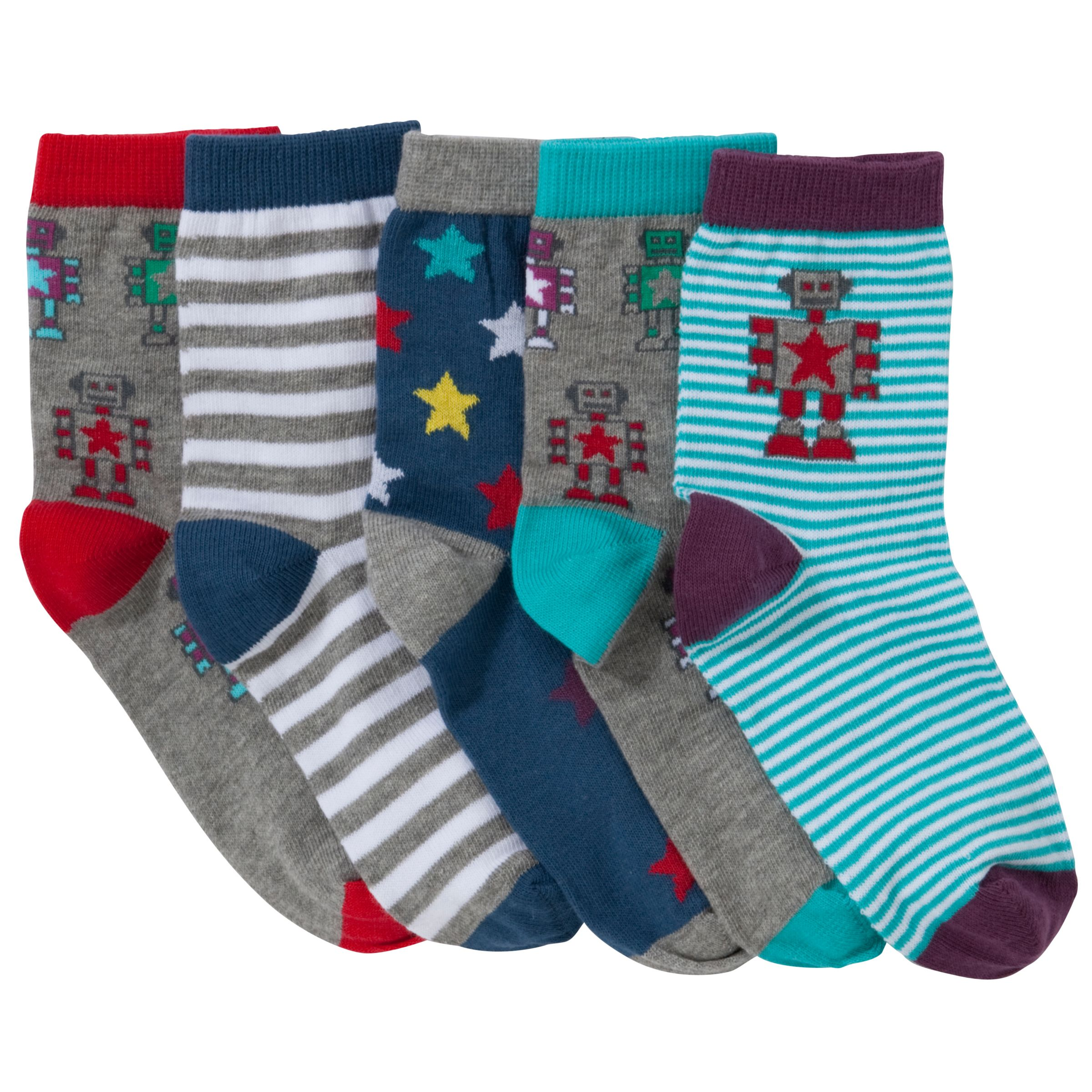 John Lewis Boy Robot Socks, Pack of 5, Multi