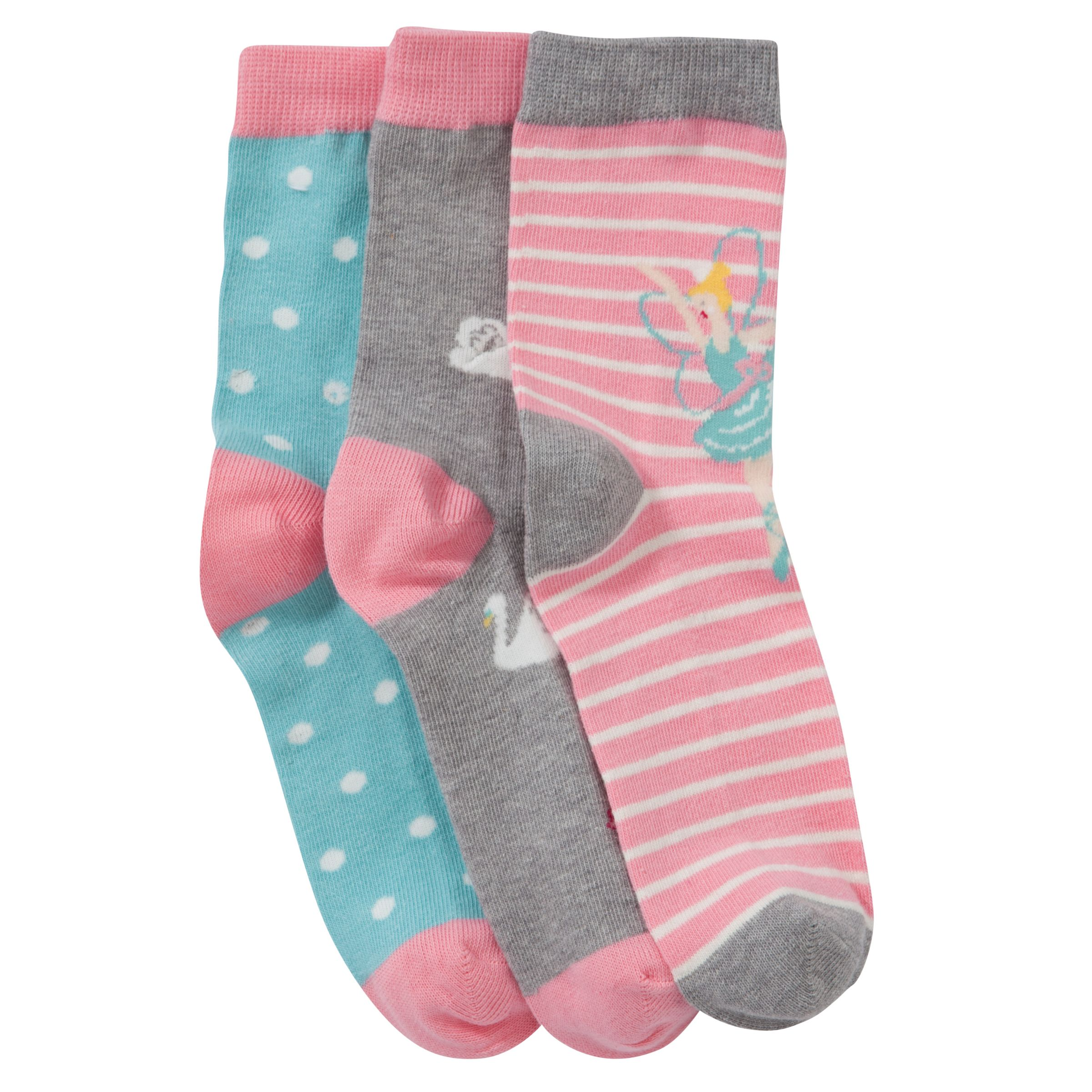 John Lewis Girl Fairy Socks, Pack of 3, Multi