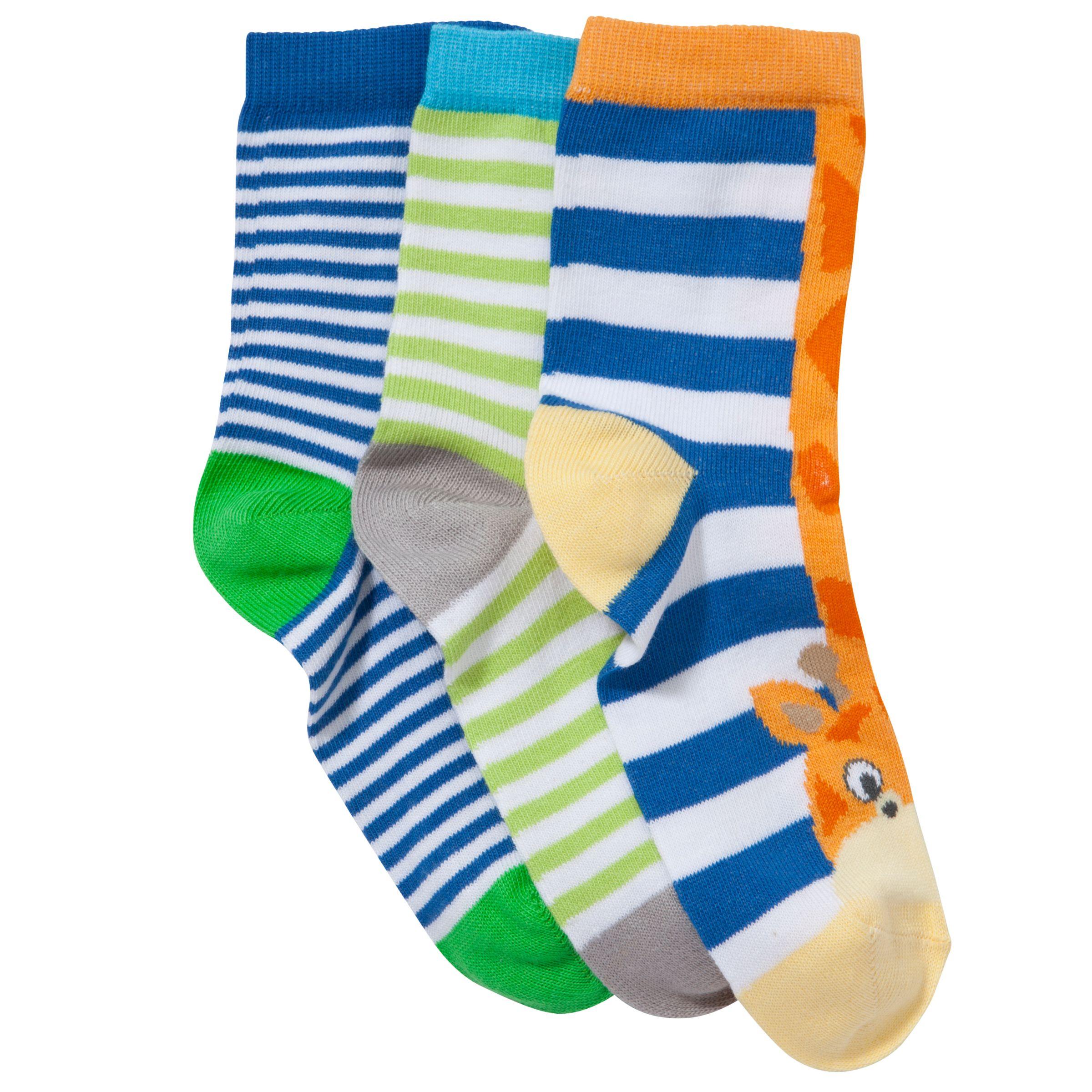 John Lewis Boy Jungle Toes Socks, Pack of 3, Multi