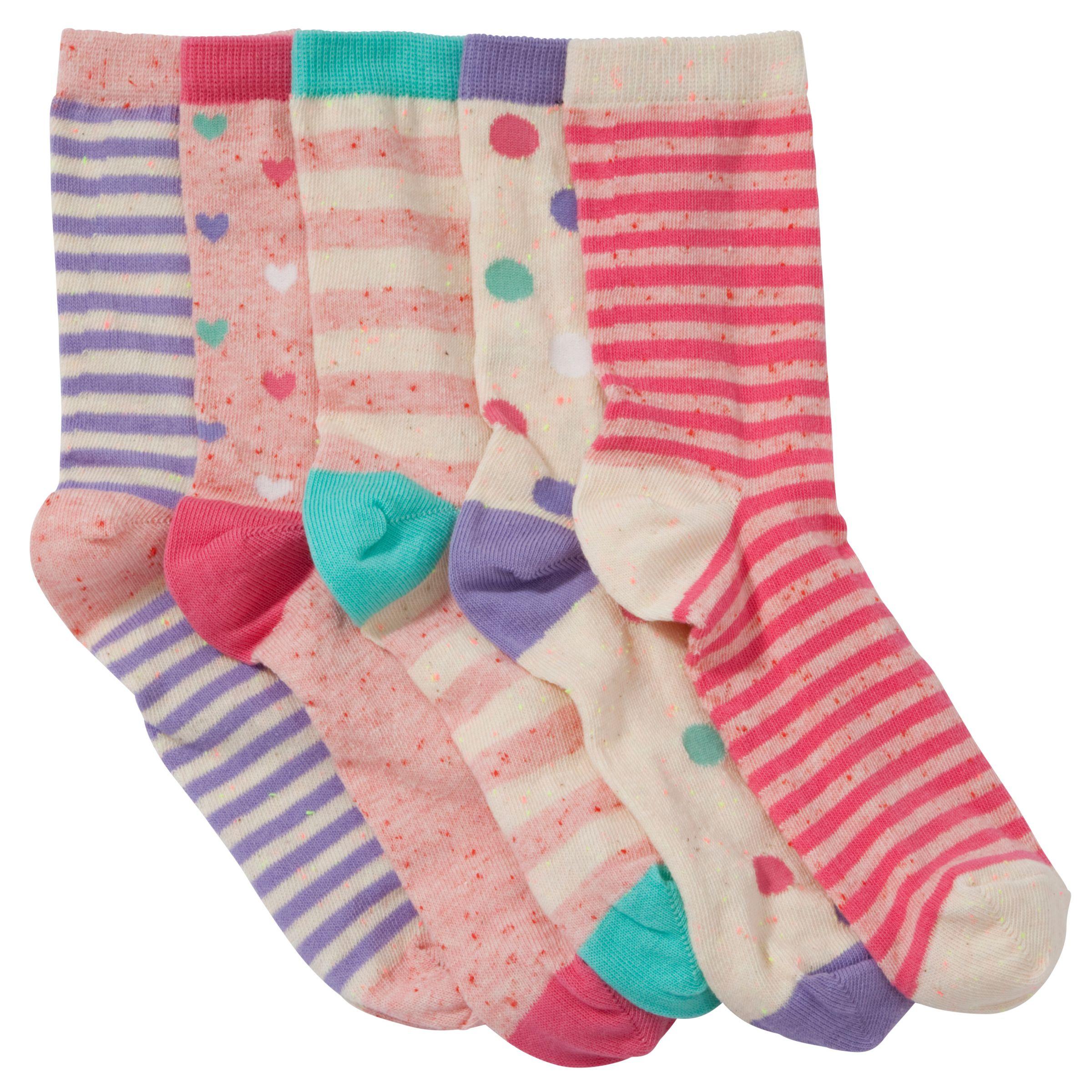 John Lewis Girl Nepped Yarn Socks, Pack of 5, Multi