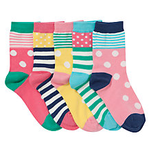 Buy John Lewis Girl Multi Stripe and Spot Socks, Pack of 5, Multi Online at johnlewis.com