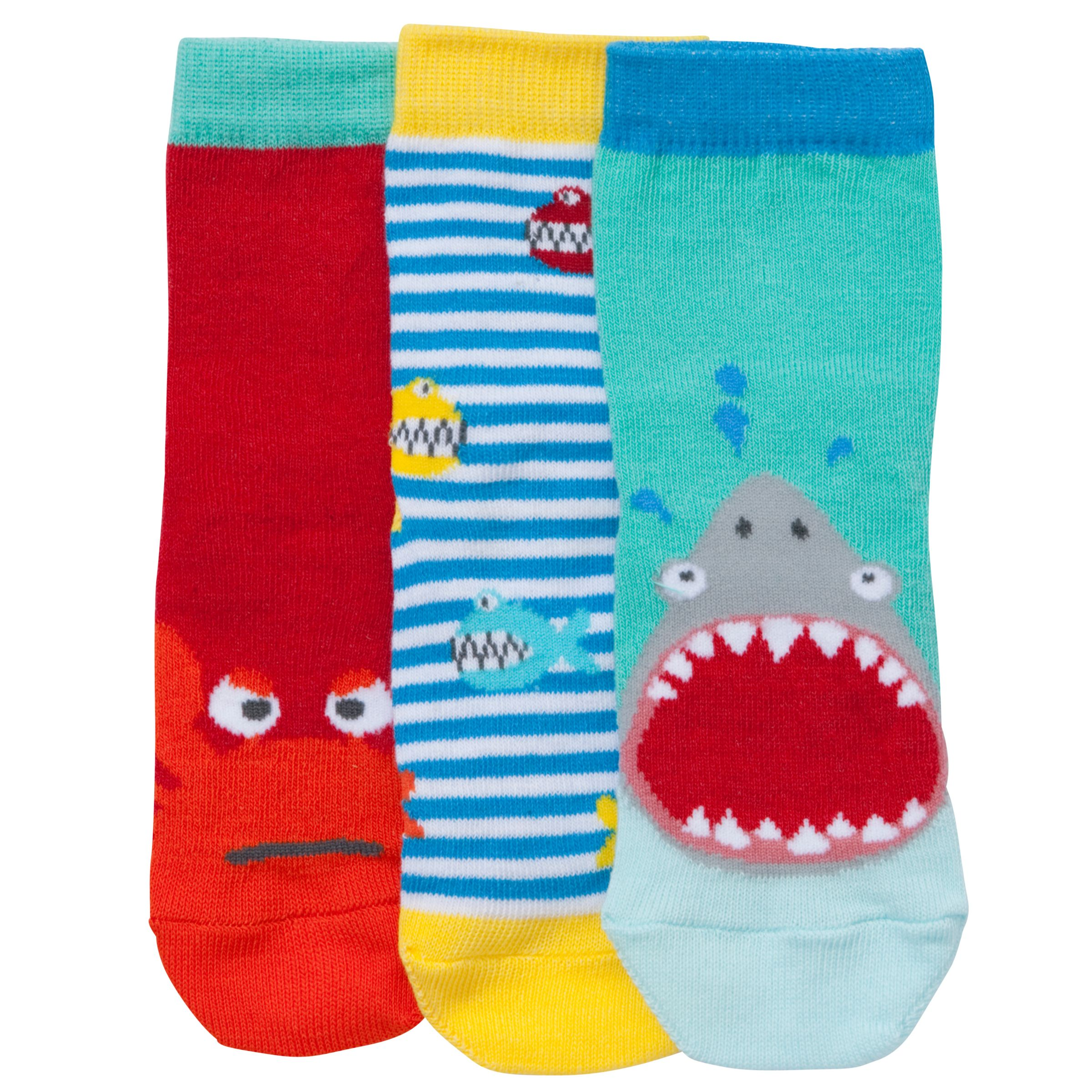 John Lewis Boy Shark Toes Socks, Pack of 3, Multi