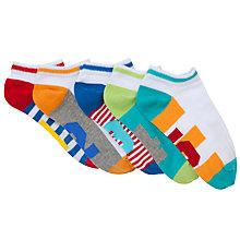 Buy John Lewis Boy Trainer Socks, Pack of 5, Multi Online at johnlewis.com