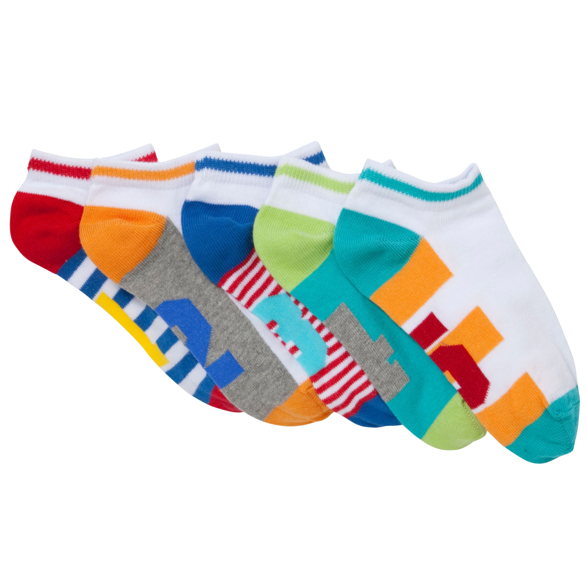 John Lewis Boy Trainer Socks, Pack of 5, Multi