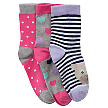 Buy John Lewis Girl Animal Toe Socks, Pack of 3, Multi Online at johnlewis.com