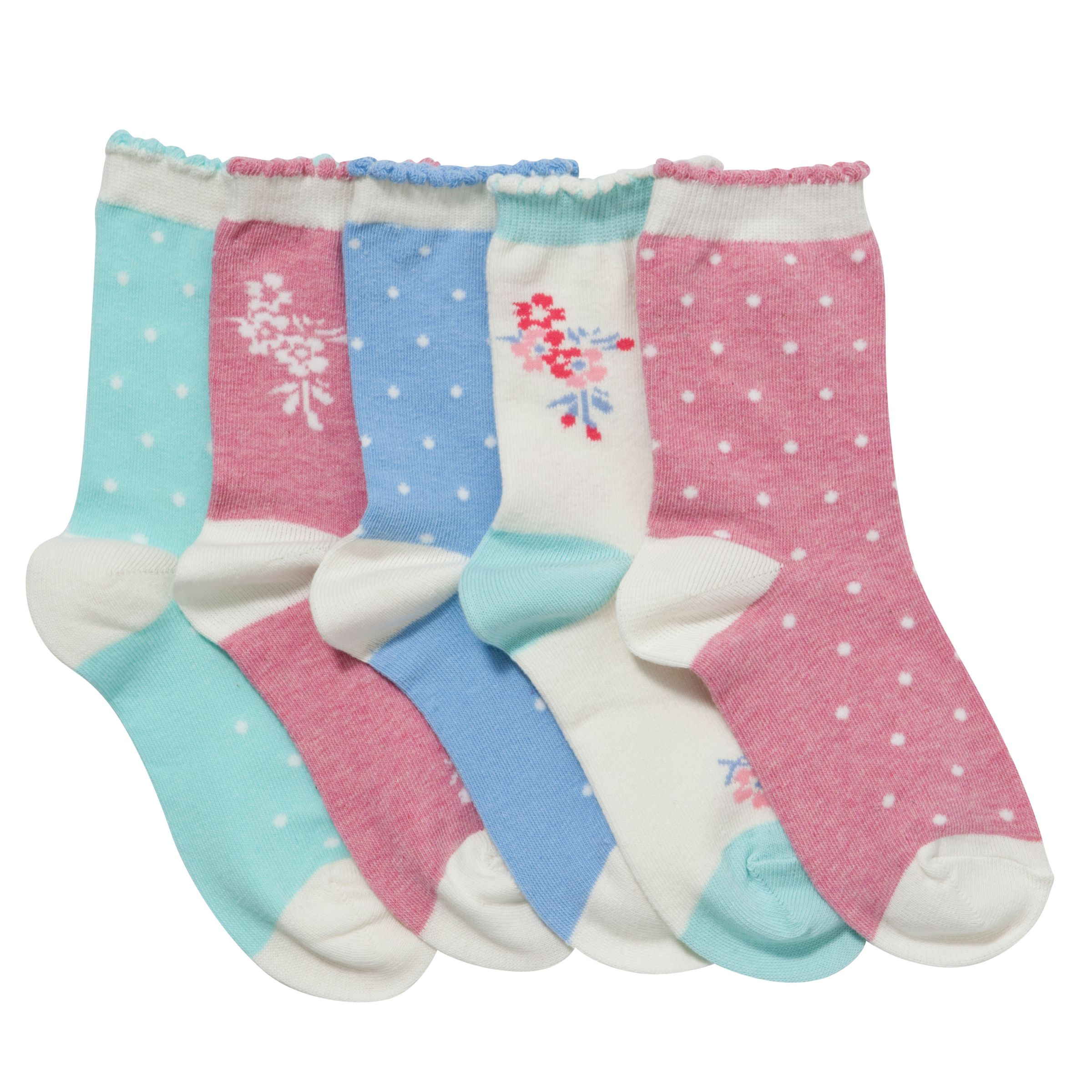 John Lewis Girl Vintage Floral Socks, Pack of 5, Multi