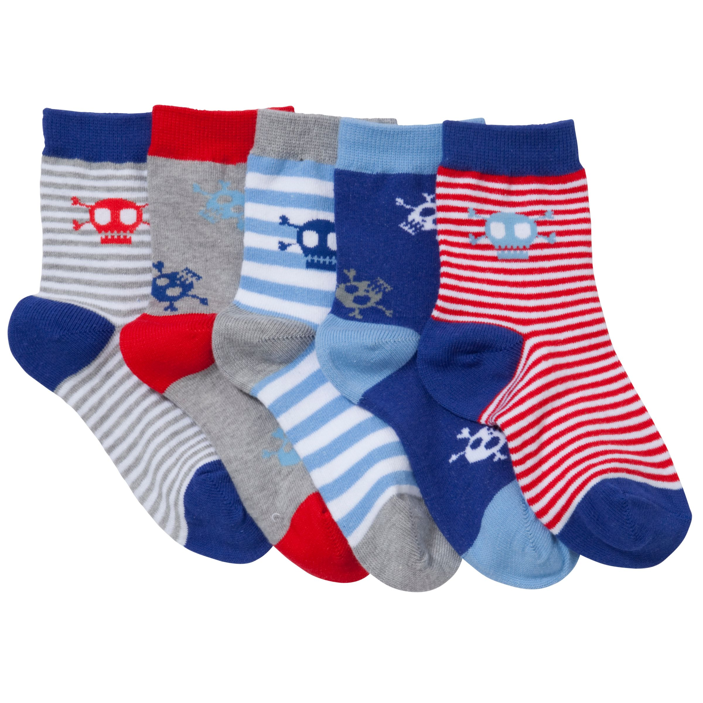 John Lewis Boy Skulls Socks, Pack of 5, Blue