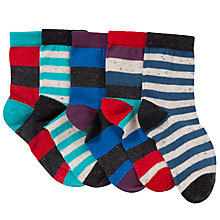 Buy John Lewis Boy Nepped Yarn Stripe Socks, Pack of 5, Multi Online at johnlewis.com
