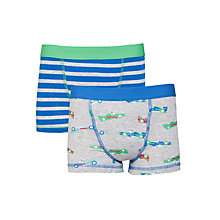 Buy John Lewis Boy Car & Striped Trunks, Pack of 2, Grey/Blue Online at johnlewis.com