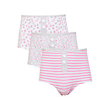 Buy John Lewis Girl Animal Print & Striped Boxer Briefs, Pack of 3, Pink/Grey Online at johnlewis.com