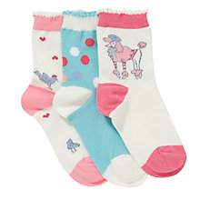 Buy John Lewis Girl Poodle Socks, Pack of 3, Multi Online at johnlewis.com