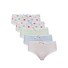 Buy John Lewis Girl Spots and Stripes Briefs, Pack of 5, White/Multi Online at johnlewis.com