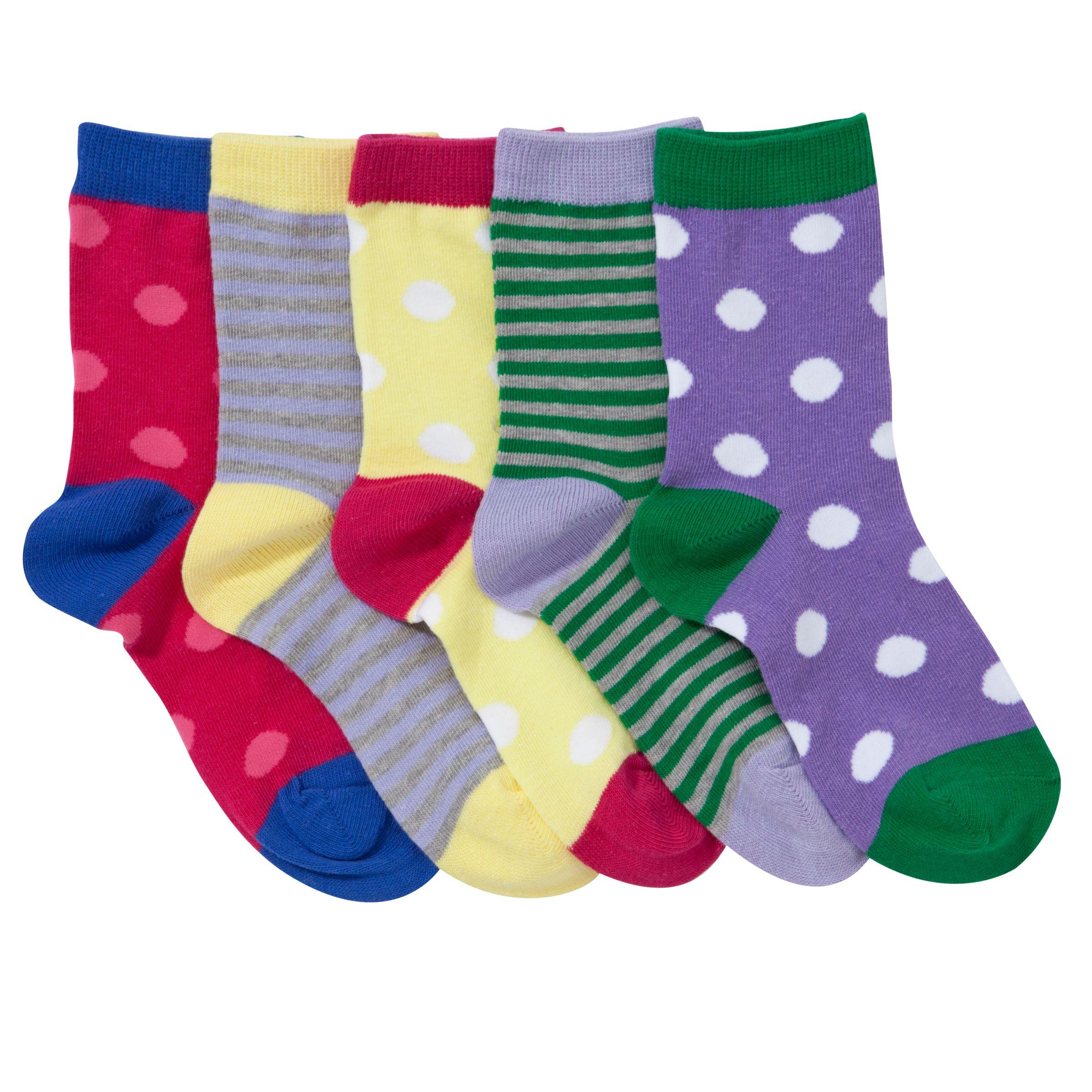 John Lewis Girl Bright Spot and Stripe Socks, Pack of 5, Multi