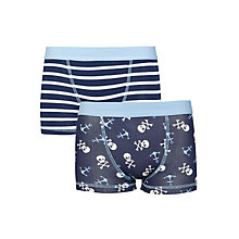 Buy John Lewis Boy Skull & Striped Trunks, Pack of 2, Blue/White Online at johnlewis.com