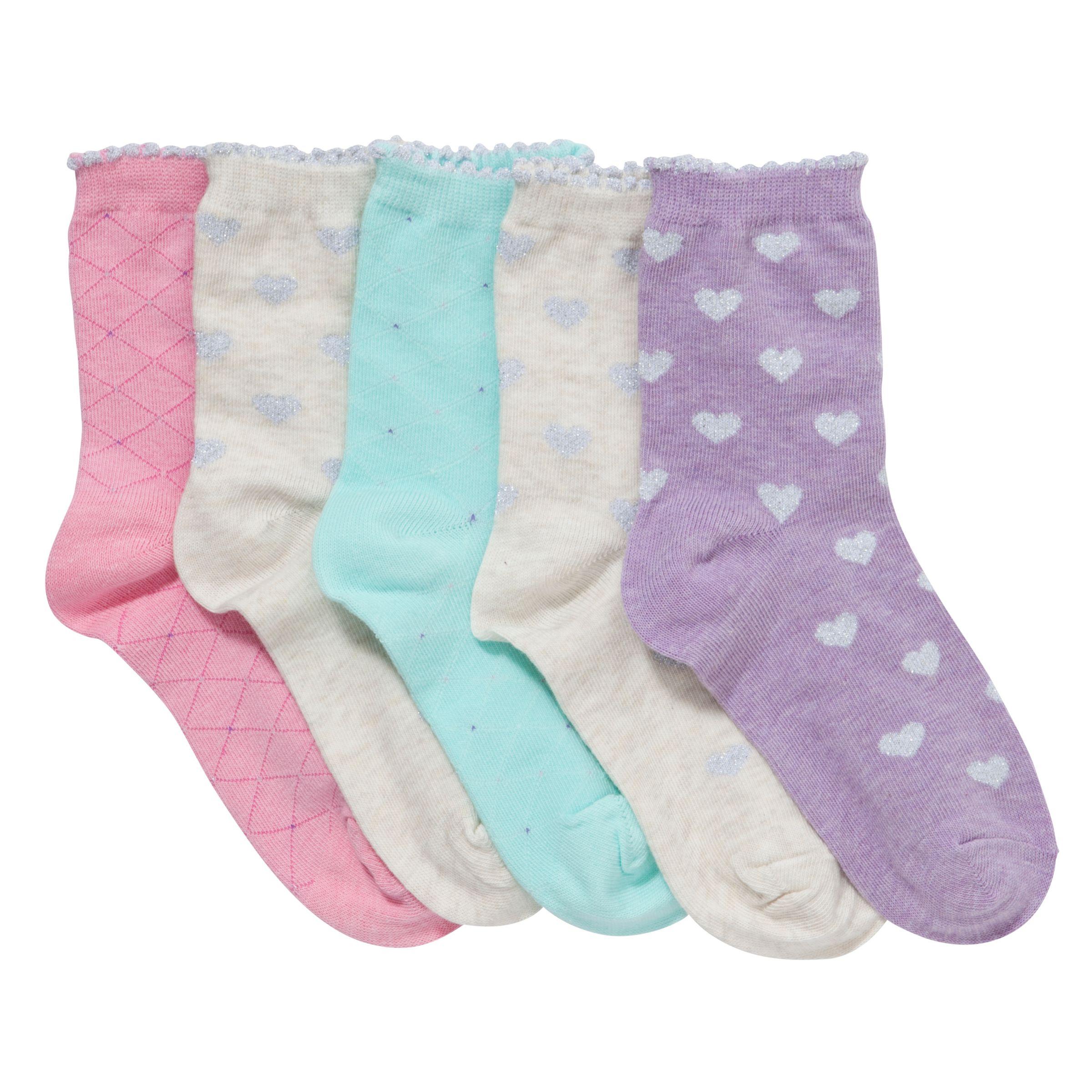 John Lewis Girl Textured Socks, Pack of 5, Multi