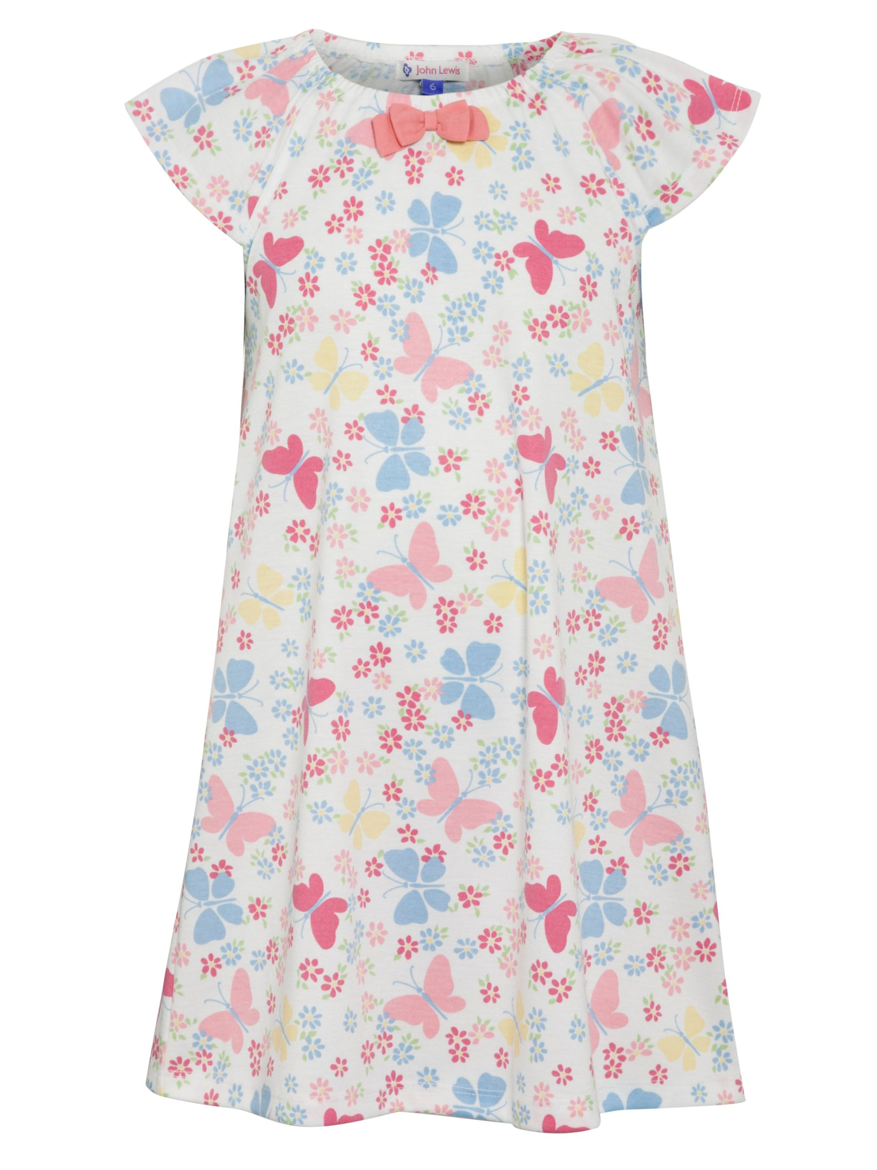 John Lewis Girl Short-Sleeved Butterfly Nightdress, Multi
