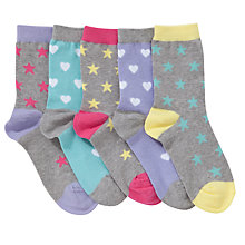 Buy John Lewis Girl Neon Stars Socks, Pack of 5, Multi Online at johnlewis.com