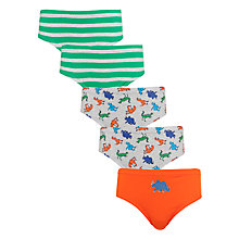 Buy John Lewis Boy Dinosaur and Stripe Briefs, Pack of 5, Multi Online at johnlewis.com