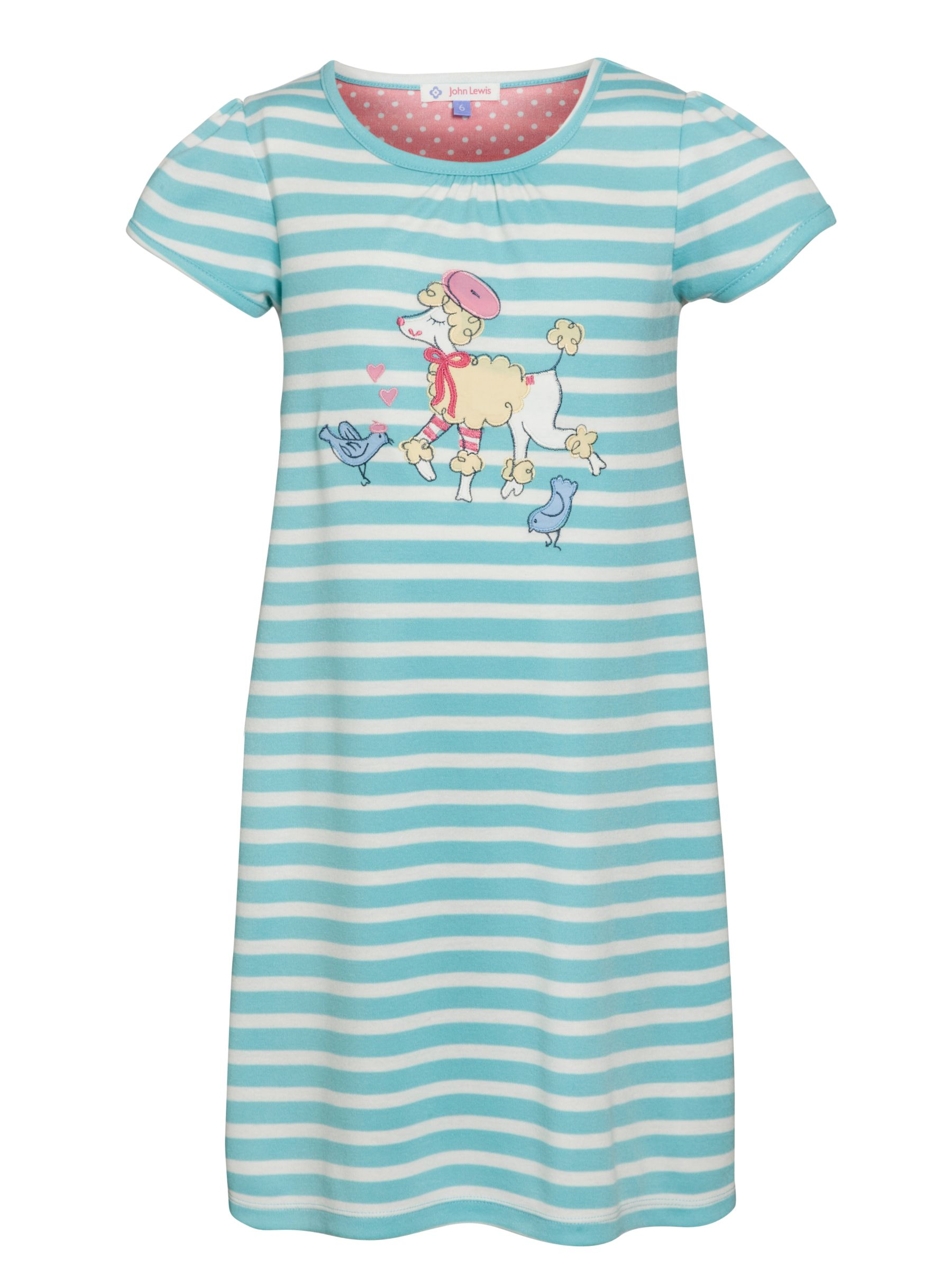 John Lewis Girl Short Sleeve Poodle Nightdress, Blue