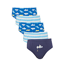 Buy John Lewis Boy Submarine & Striped Briefs, Pack of 5, Blue Online at johnlewis.com