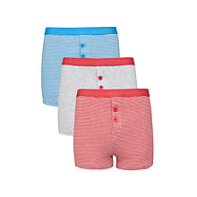 Buy John Lewis Boy Striped Boxers, Pack of 3, Red/Blue Online at johnlewis.com
