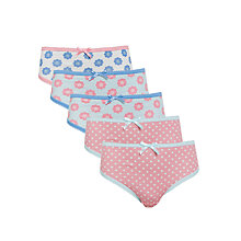 Buy John Lewis Girl Floral and Spots Briefs, Pack of 5, Pink/Blue Online at johnlewis.com