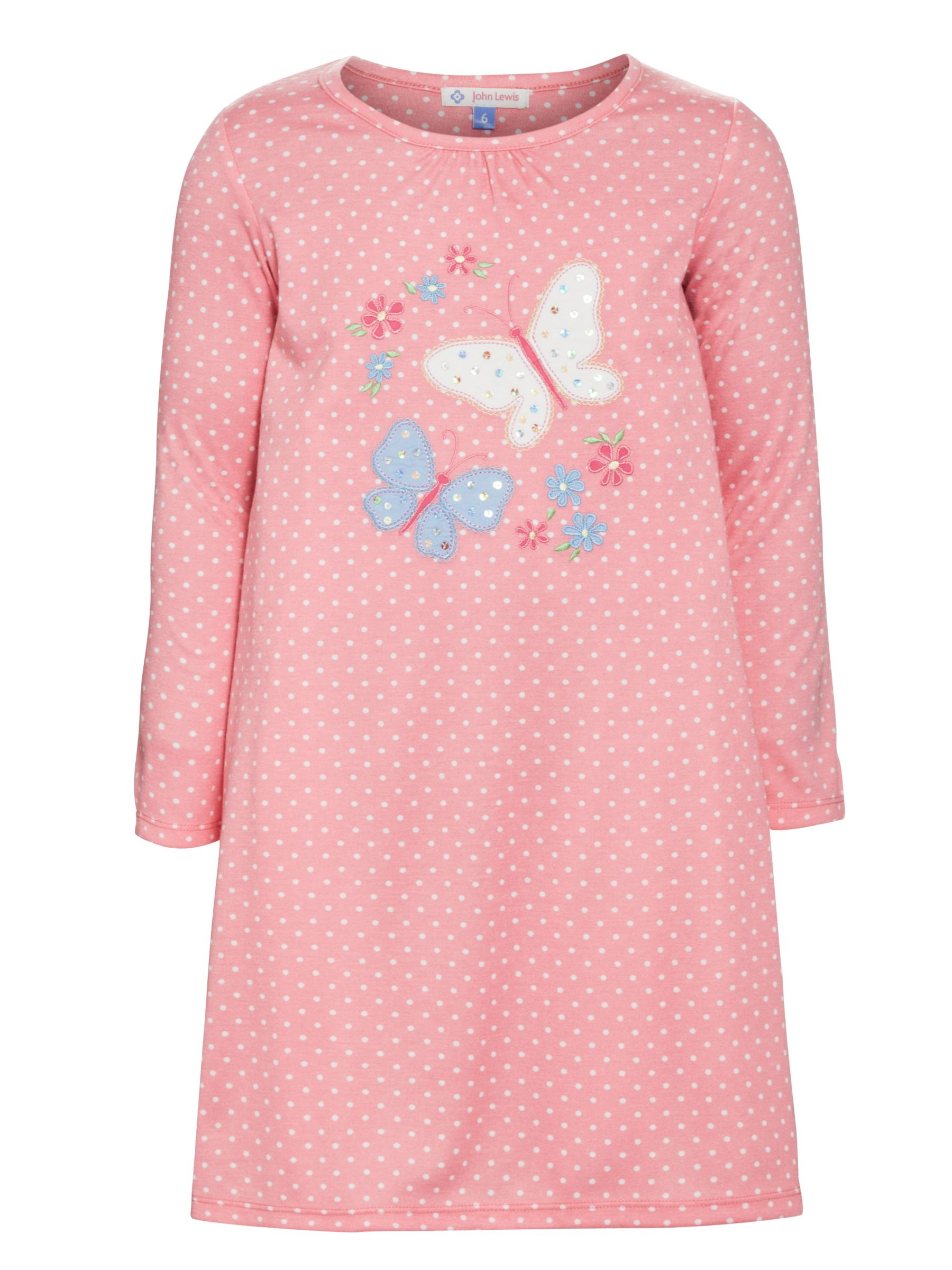 John Lewis Girl Long Sleeve Butterfly Nightdress, Pink