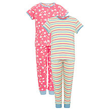 Buy John Lewis Girl Short Sleeve Bird and Stripe Pyjamas, Pack of 2, Pink Online at johnlewis.com
