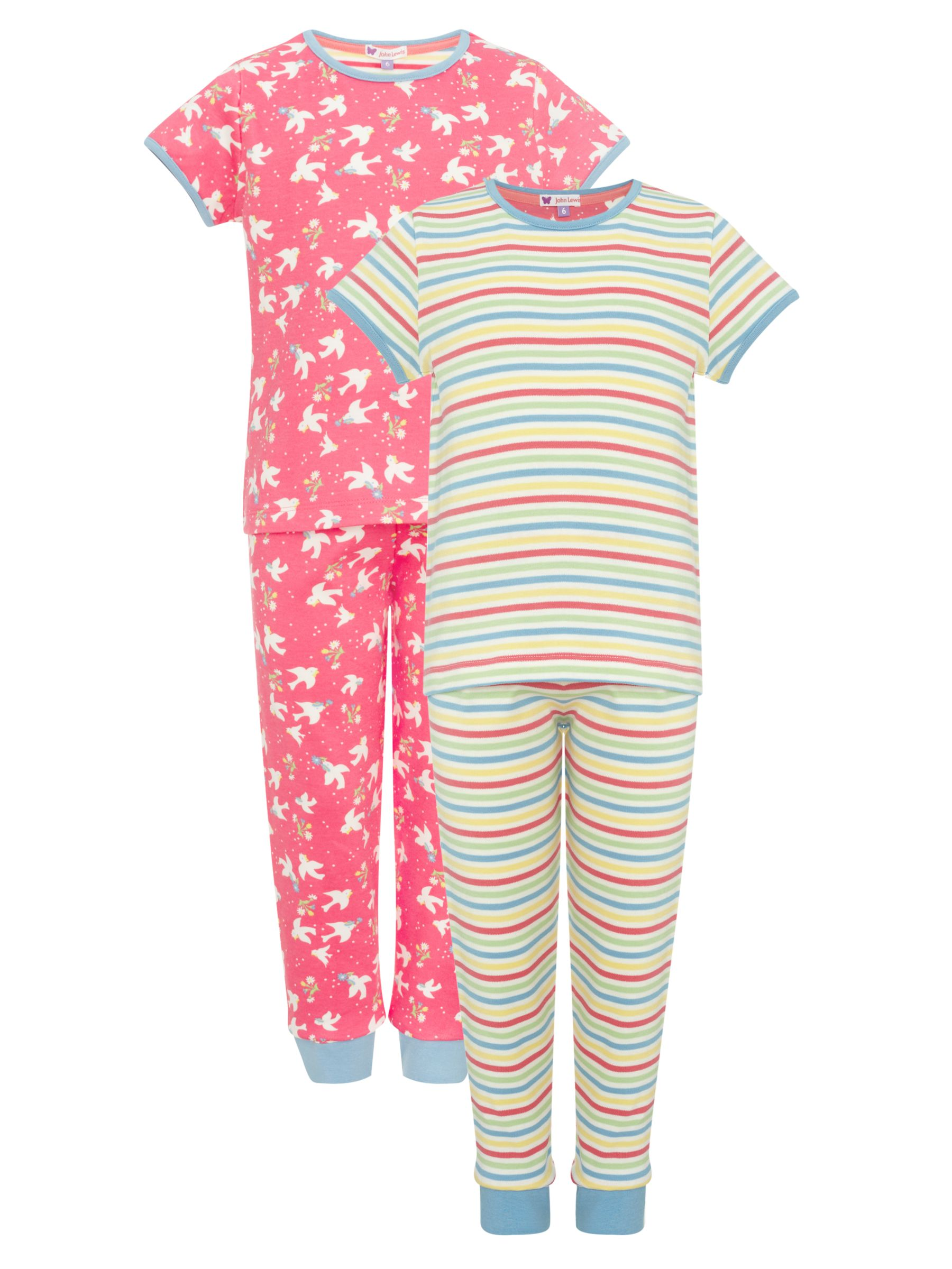 John Lewis Girl Short Sleeve Bird and Stripe Pyjamas, Pack of 2, Pink