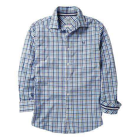 Buy Crew Clothing Pinpoint Royal Check Shirt Online at johnlewis.com