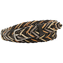 Buy Fossil Fishtail Braid Belt, Black/Multi Online at johnlewis.com