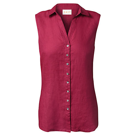 Buy East Sleeveless Linen Shirt, Wineberry Online at johnlewis.com